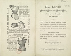 Advert for Mrs Leach, dressmaker